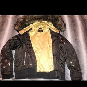 Baby phat 3XL gold and brown puffer jacket.